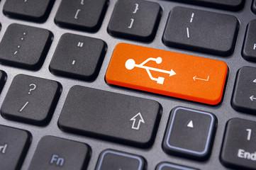 USB signs on enter key of keyboard, USB ready