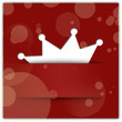 Crown applique on red background. Christmas party concept