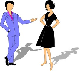 couple talking in cartoon style from sixties era