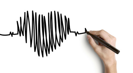 hand drawing heartbeat