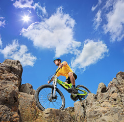 Person riding a mountain bike on a sunny day