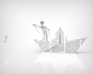 Hombre y Barco de Papel