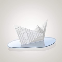 newspaper ship origami vector