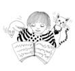 Ink illustration of boy learning