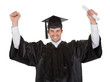 Cheerful young graduation man