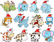 Cute Christmas Holiday Winter Animal Vector Set