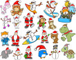 Cute Holiday Christmas Winter Vector Set