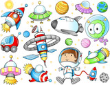 Outer Space Spaceships and Astronaut Vector Set - 44341891