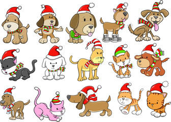Christmas Holiday Dog and Cat Pet Vector Set