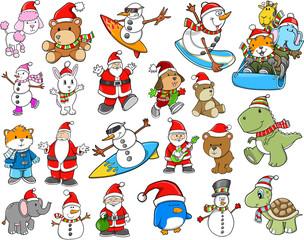 Cute Holiday Christmas Winter Vector Set