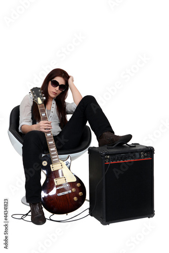 Casual female guitarist