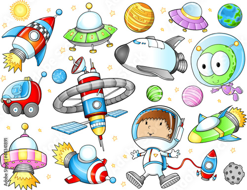 Outer Space Spaceships and Astronaut Vector Set
