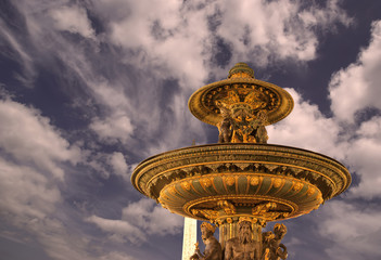 Fountain at the Place de la Concorde in Paris by night