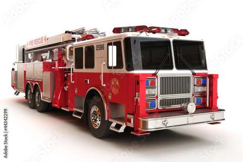 Firetruck on a white background.