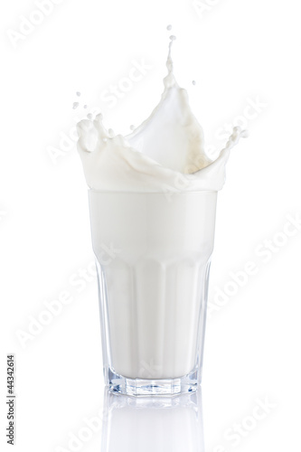 splash of milk in a glass