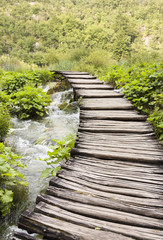 Timber walkway in Plitvice, Croatia