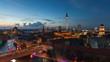 Berlin Skyline Light City Timelapse with Speed Boats in Full HD