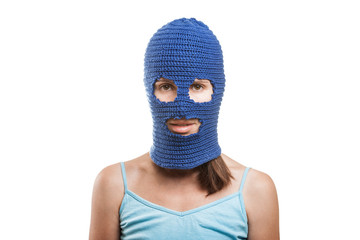 Woman in balaclava