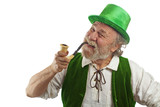 Happy Irish Leprechaun with pipe in mouth