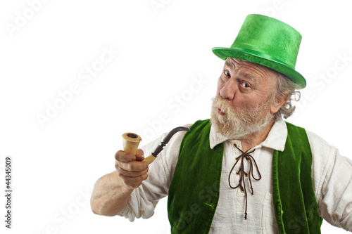 Funny leprechaun with pursed lips holding a pipe