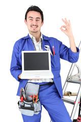 blue collar man grinning