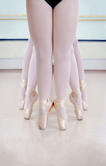 Elegant Ballerina Legs In Pointe Shoes at Ballet Class