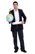 Man with globe and map