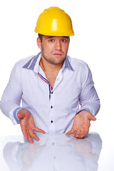 Portrait of sexy worker didn't know what to do