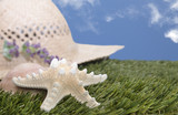 beach hat with starfish on grass