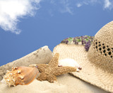 beach hat and shells on sand with blue sky
