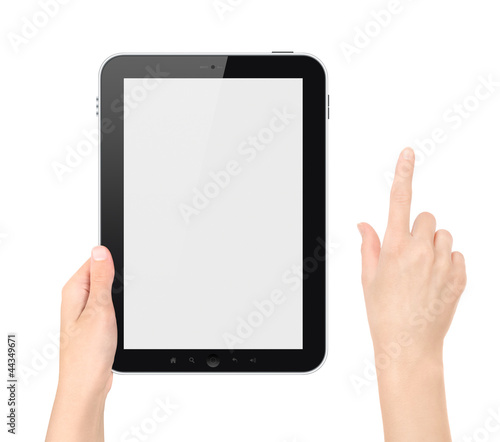 Holding Tablet PC With Touching Hand Isolated