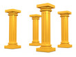 Golden Columns 3d render illustration