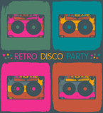 Fototapety Retro disco party invitation in pop-art style. Vector, EPS8
