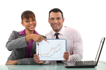 Two businesspeople happy with financial performance