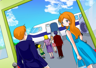 Cartoon illustration of passengers at the airport