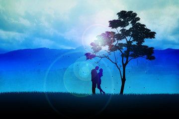 Silhouette illustration of a couples under the tree