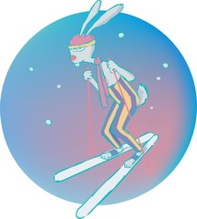 hare on skis