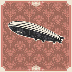 Vintage background with zeppelin.