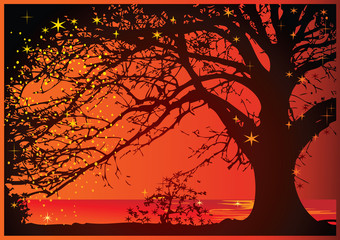 Magical sunset on the ocean. Vector art-illustration.