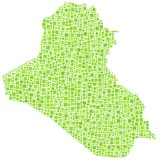 Map of Iraq - Middle East - in a mosaic of green squares