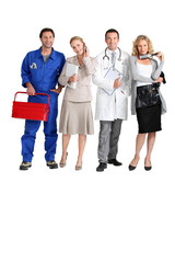 Mechanic, receptionist, doctor and hairdresser.