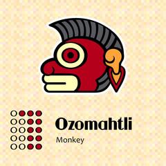 Aztec calendar symbols - Ozomahtli or monkey (11)