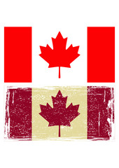 Canadian flags. Grunge effect