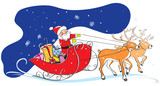 Santa Claus in sledge, Christmas gifts, deers, snowflakes
