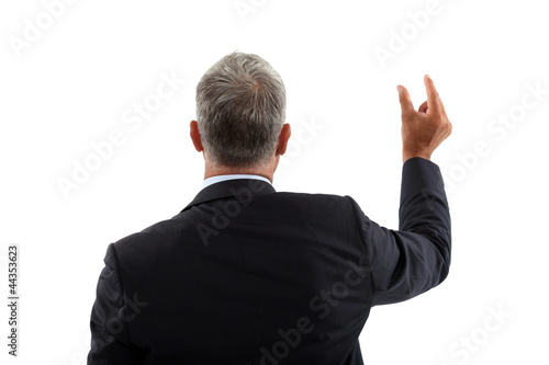 Businessman holding an invisible object