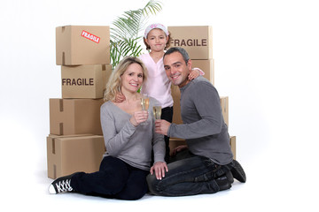 Young family on moving day