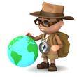 3d Adventurer studies a globe