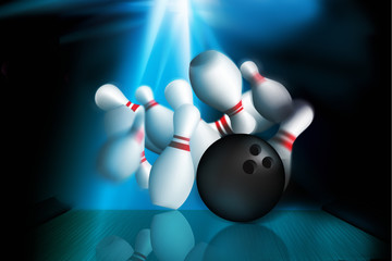ten pin bolwing illustration of a strike