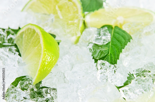 lime and peppermint leaves