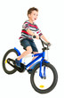 Happy naughty little boy riding bike